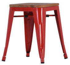 French Industrial Low Stool - Red