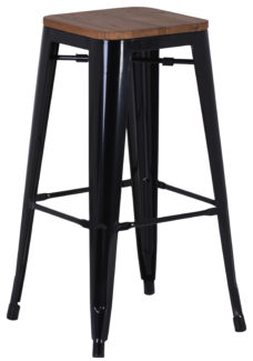 French Industrial Stool High - Black