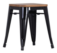 French Industrial Low Stool - Black