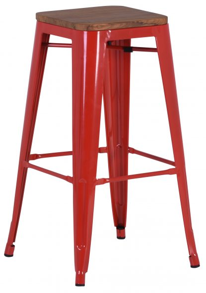 French Industrial High Stool - Red